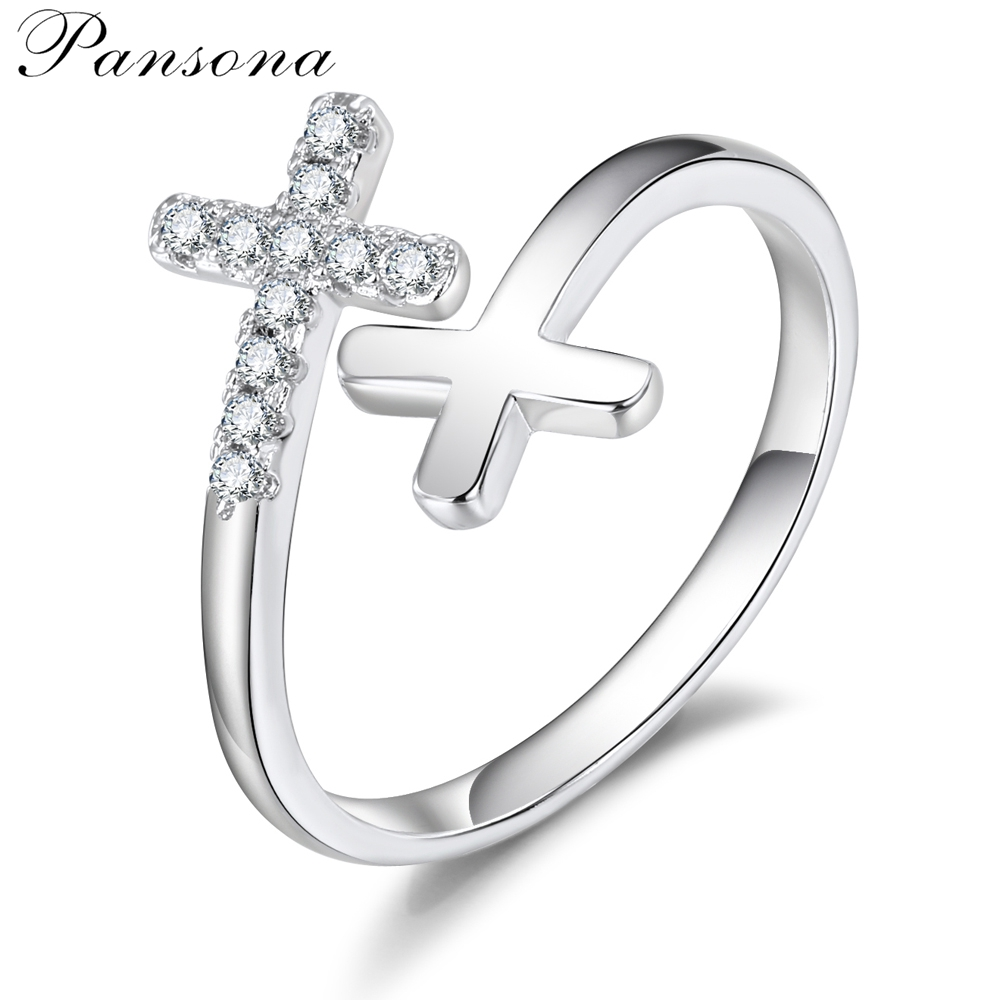 2018 Fashion New Jesus cross Rings birthday gift Stackable butterfly Finger Ring For Women Fashion women`s Jewelry Gift RG024
