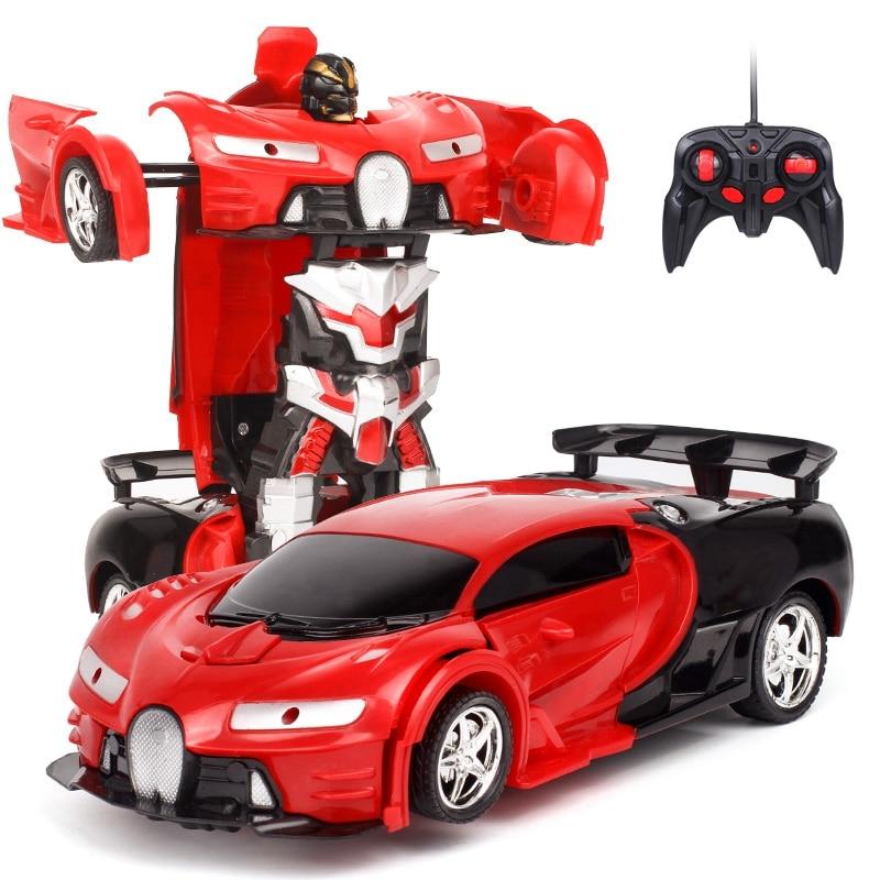 2 In1 Rc Car Sports Car Transformation Robots Models Remote Control Deformation Car Rc Fighting Toy Kids Children Birthday Gif