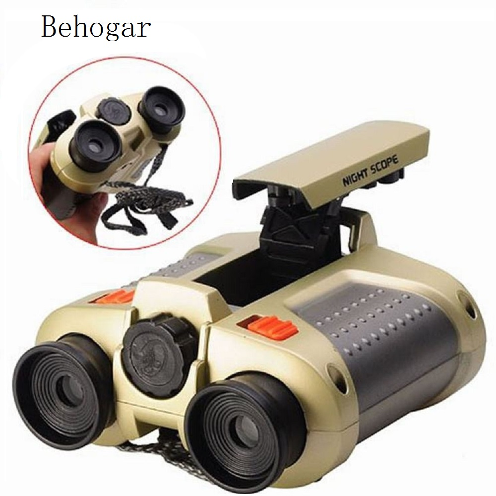 Behogar 4x30 Binocular Telescope telescopio binoculo Pop-up Light Night Vision Scope Binoculars Novelty Children Kid Toys Gifts