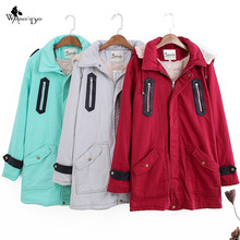WomensDate 2017 Spring Winter High Quality Women Trench Coat Women's Overcoat Female Long Hooded Coat Zipper Button Outwear