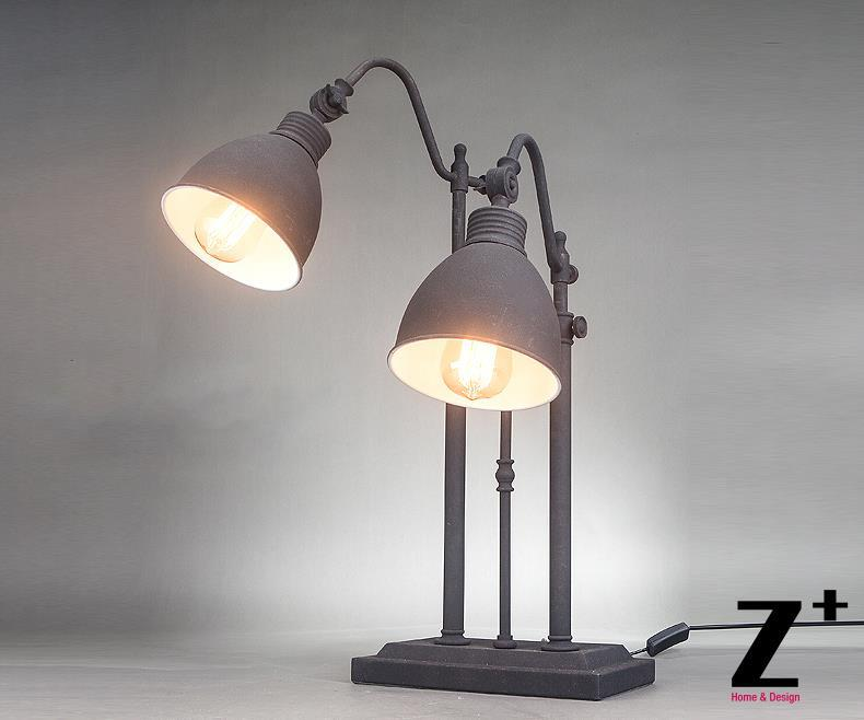 Industrial style American Hand made DIY Grey Iron pipe Two heads table lamp free shipping abajur