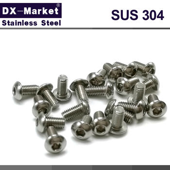 m3 button head bolts ,304 stainless steel Metric screw hex socket button head cap screws , Micro Model bolt 4mm-50mm ,A017 image