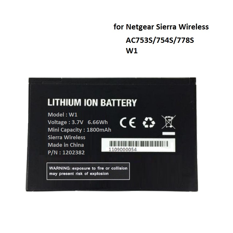 W1 For Netgear Sierra 753S 754S 778S Battery Wireless Router Aircard W-1 1800mAh 3.7V Li-Ion Lithium Rechargeable Batteries