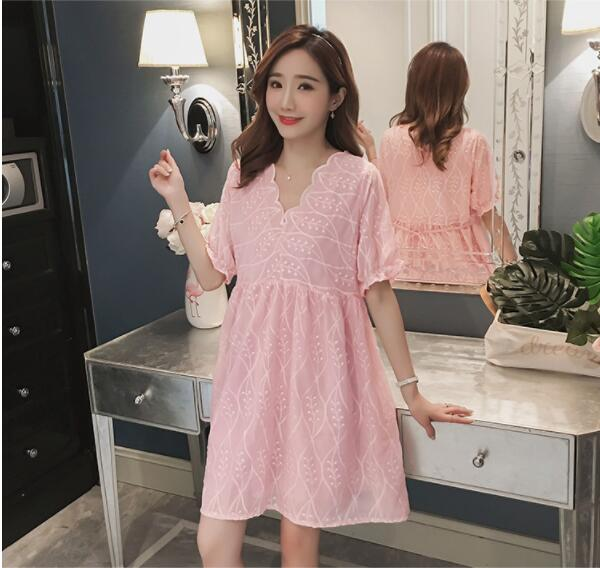 Women maternity dresses embroidery 100% cotton pregnancy dress summer ladies pregnant clothes big size loose skirt