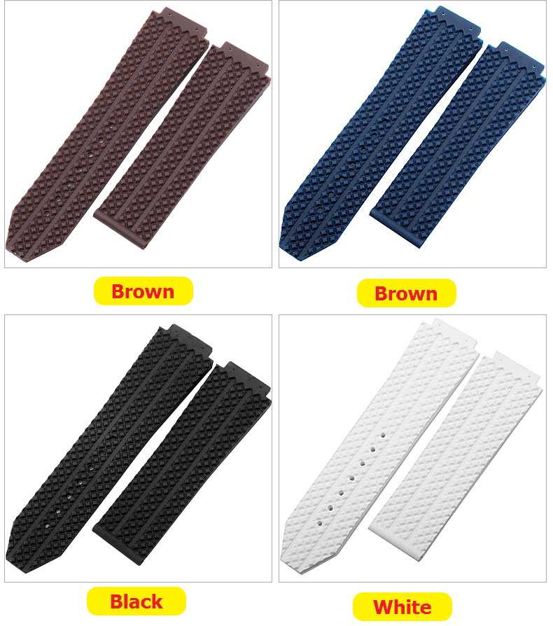Top quality Rubber Silicone Watchband 25*19mm For Hublot strap for Big Bang belt watch band Butterfly Buckle Bracelet word on