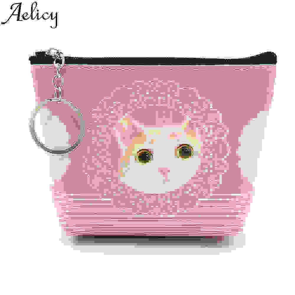 Aelicy High Quality Lovely Candy Color Purse Clutch Animal Prints Small Wallet Coin Pocket Women PU Leather Card Hold Purse