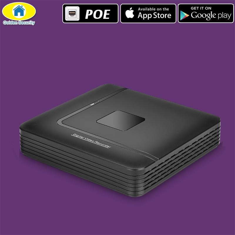 Золотой безопасности В 12 В PoE NVR рекордер обнаружения движения сигнализации видеонаблюдения NVR 4CH 1080 P с 4CH PoE порт 12 В
