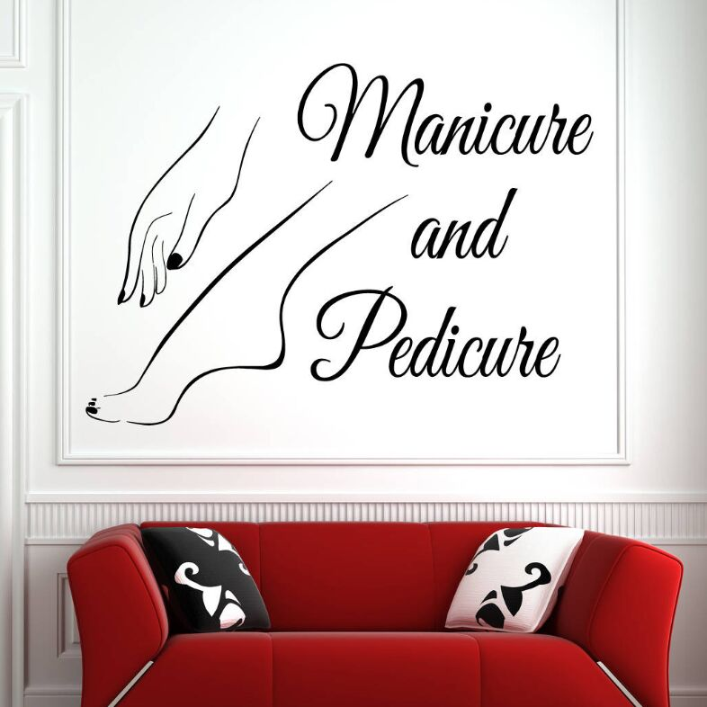 Vinyl Wall Window Decal Nail Art Polish Wall Sticker Beauty Salon Manicure Pedicure Wall Art