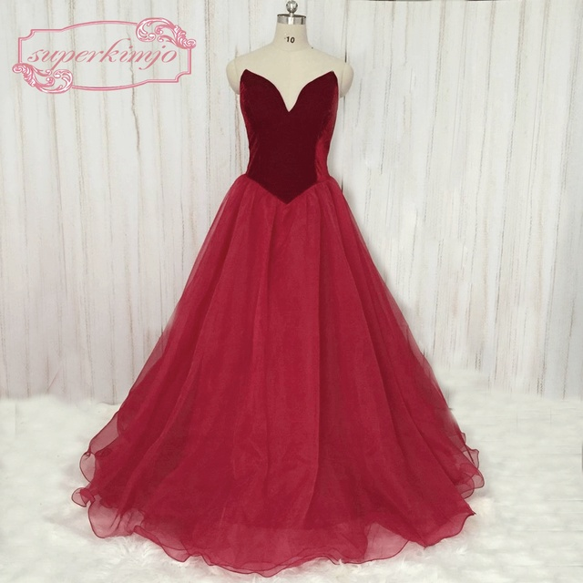 e92cfd6e2b2f SuperKimJo 2018 Real Images Burgundy Velvet Prom Dresses Formal Gowns A Line  Elegant Arabic Style Evening Gown Vestido De Festa