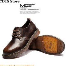 CDTS:36-45 46 47 Luxury Brand Male casual Round Toe lace-up Flats fashion genuine leather big head tooling men's Business shoes