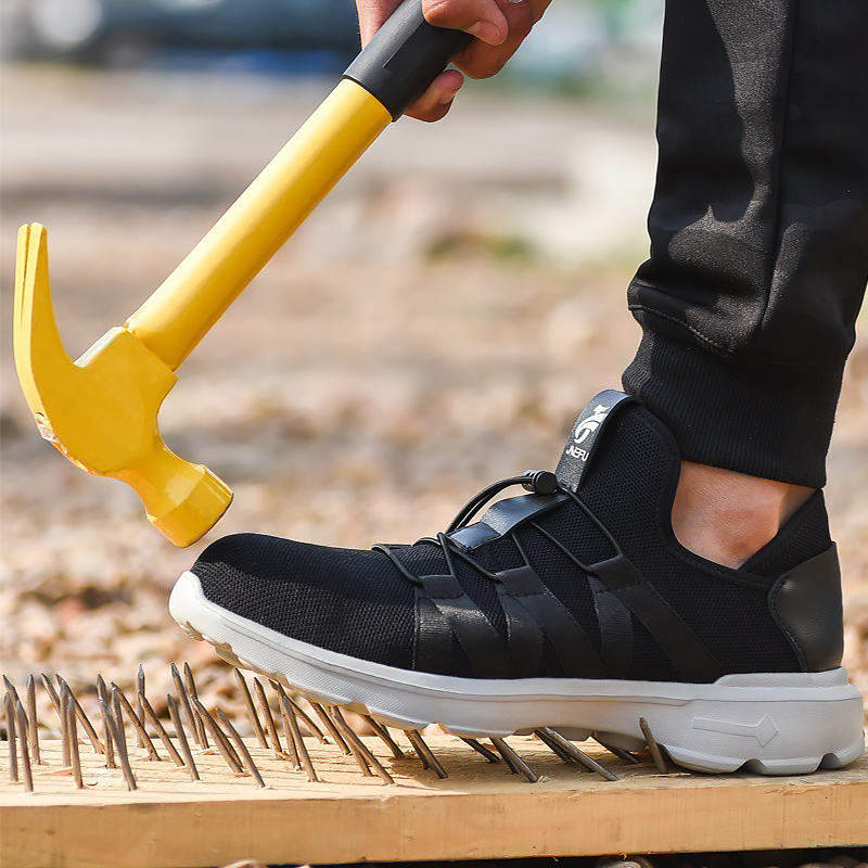 Flyknit Safety Shoes Summer Wedges Plus Size 45 48 Wear resistant Sneakers For Boys Working Lace Up Steel Toe Shoes Man in Men 39 s Casual Shoes from Shoes