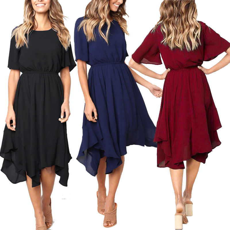 Hot Sales 2019 Summer Dress Women Elastic Waist Beach Dresses Irregular Chiffon Dress for Ladies LooseCasual sundress Female