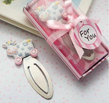 100PCS/LOT wedding favor party gift of baby gift pink cow shaped bookmark, with tassel festival Christmas gift