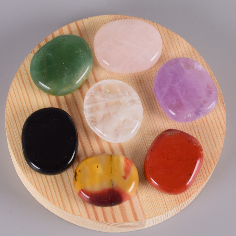 Healing Massage Palm Stone 7 pcs/Set Natural Stone Meditation SPA Reiki Energy Stone Crystal Quartz Tool Beauty Care