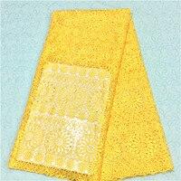 Горячая распродажа! Африканский шнур кружева воды Желтый цвет ткани, красивый Водорастворимые кружевной ткани для торжественное платье! ...