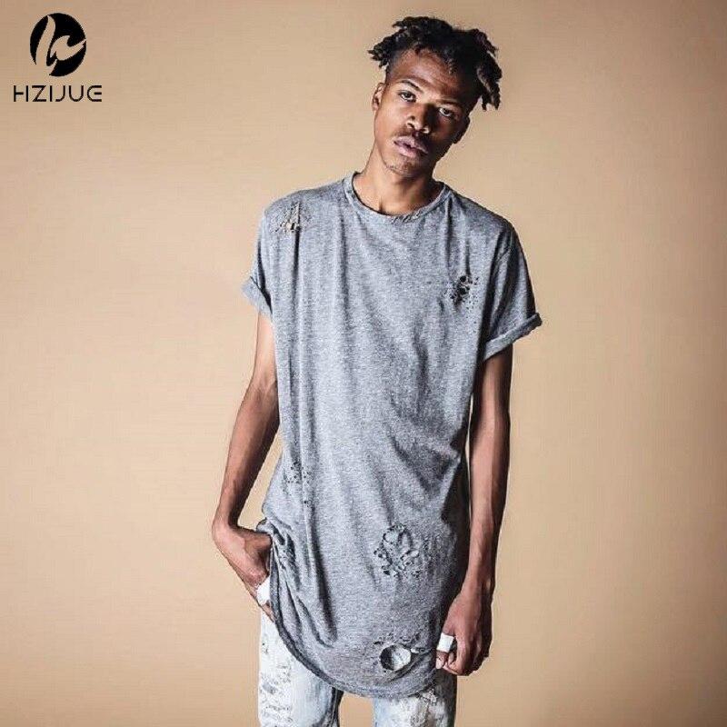 HZIJUE 2017 hip hop street T-shirt wholesale fashion brand men summer long sleeve oversize design hold hand