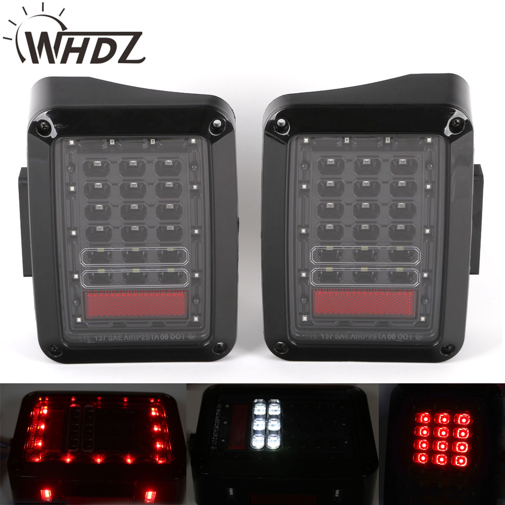 whdz Pair Back Up Rear Parking Stop Light LED Tail Lights for 2007-2015 Jeep Wrangler Tail Light Brake Reverse Turn Singal Lamp free shipping 2pc lot led lights hi q 921 50w back up lamp up to 2014 for volkswagen jetta iv