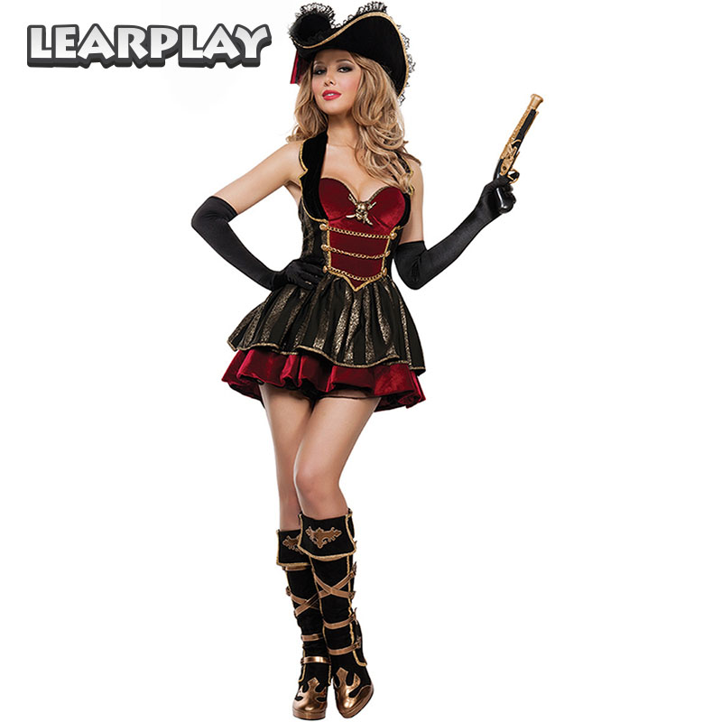 Pirates of the Caribbean Costume Women Fancy Dress Cosplay Lucy Pirate dresses Uniforms Halloween Costume For Women