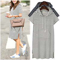 Plus Size 4XL 5XL Women Hoodies Shirt Dress Summer Short Sleeve Black And White Striped Blouse