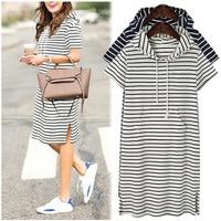 Plus Size 4XL 5XL Women Hoodies Shirt Dress Summer Short Sleeve Black And White Striped Blouse