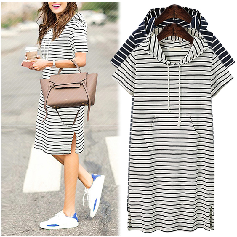 Plus Size 4XL 5XL Women Hoodies Shirt Dress Summer Short Sleeve Black And White Striped Blouse Dresses Casual Work Office Dress