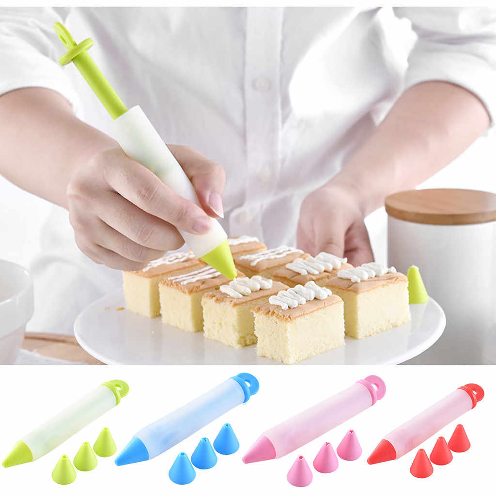 New Silicone Food Writing Pen Chocolate Cake Decorating Tools Cream Cup Icing Bakeware #K30
