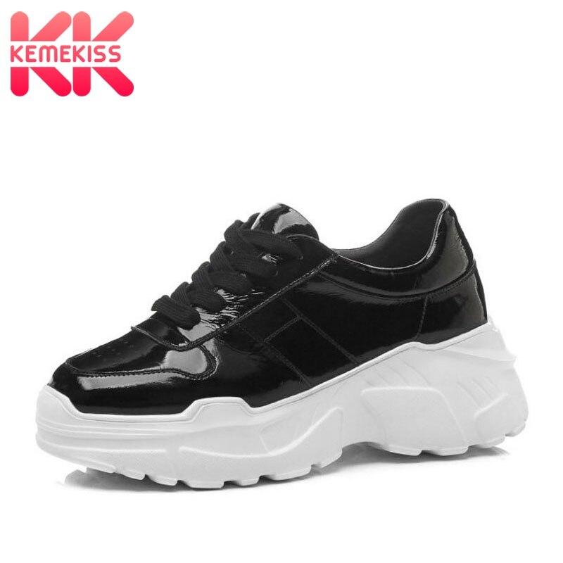 KemeKiss baskets en cuir véritable femmes plate-forme chaussures vulcanisées solide couleur printemps nouveau haute qualité femmes chaussures taille 34-39