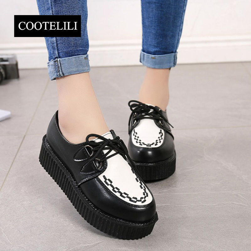 COOTELILI 35-39 Spring Casual Harajuku Women Shoes Flat Platform Lace-Up Retro Girls Shoes Solid Round Toe Leisure Single Shoes mcckle 2017 fashion woman shoes flat women platform round toe lace up ladies office black casual comfortable spring
