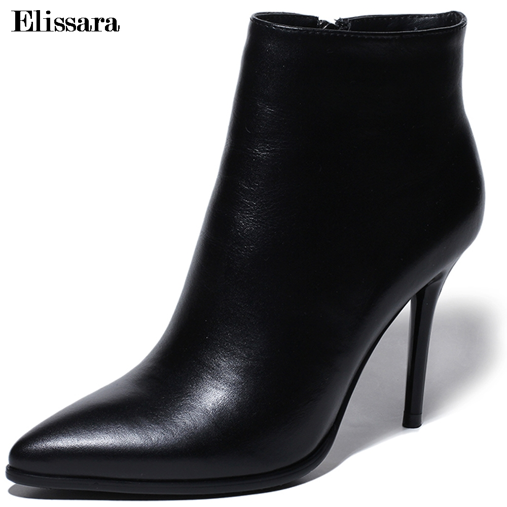 Elissara Fashion Women's Shoes 2018 Women High Heels Ankle Boots Shoes Woman Genuine Leather Zip Pointed Toe Boots Plus Size elissara women ankle boots women high heels boots ladies zip high quality denim pointed toe shoes plus size 33 43