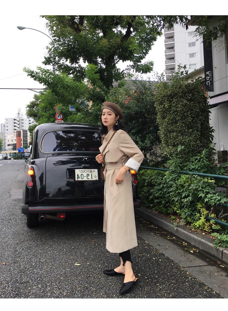 Spring Autumn Maxi Long Women's Loose Trench Coat With Belt Khaki & Black Plus Size Korean Style Windbreaker Outwear 20