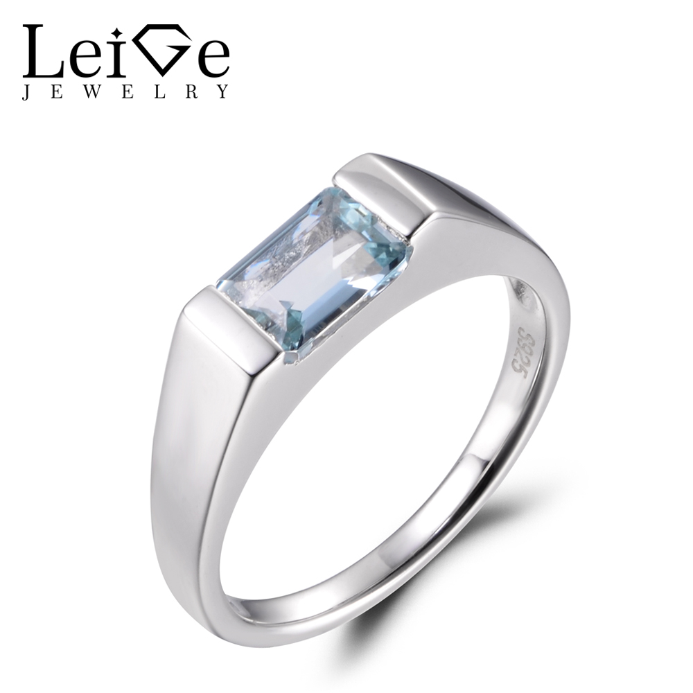 LeiGe Jewelry Natural Aquamarine Rings Proposal Ring March Birthstone Emerald Cut Ring Blue Gems 925 Sterling Silver for WomenLeiGe Jewelry Natural Aquamarine Rings Proposal Ring March Birthstone Emerald Cut Ring Blue Gems 925 Sterling Silver for Women