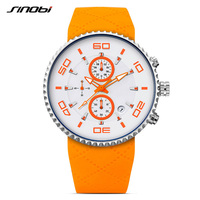 SINOBI Mens Chronograph Watches Multifunction Men Clock Silicone Strap Quartz Watches Waterproof Relogio Masculino 2018 9739