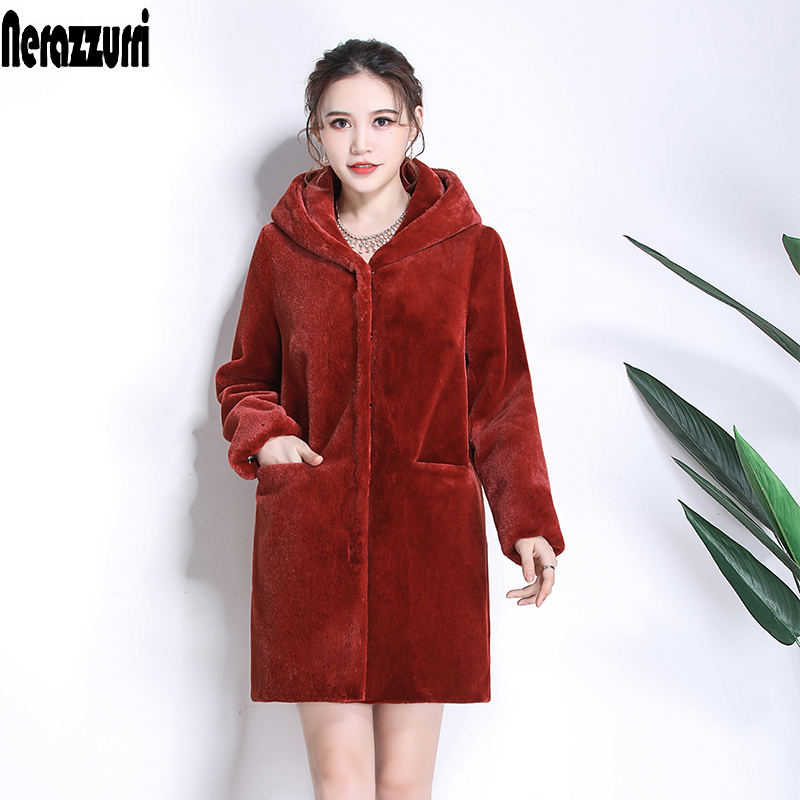 Nerazzurri Winter Women Fur Coat With Hood Long Sleeve Red Black Warm Fur Pockets Plus Size Plush Fluffy Fake Fur Jacket 5xl 6xl
