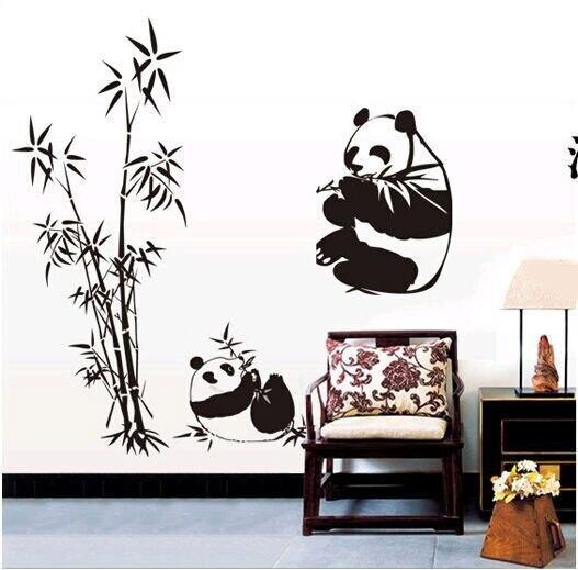 Diy panda pegatinas de vergelijking woonkamer stickers op de muren ...