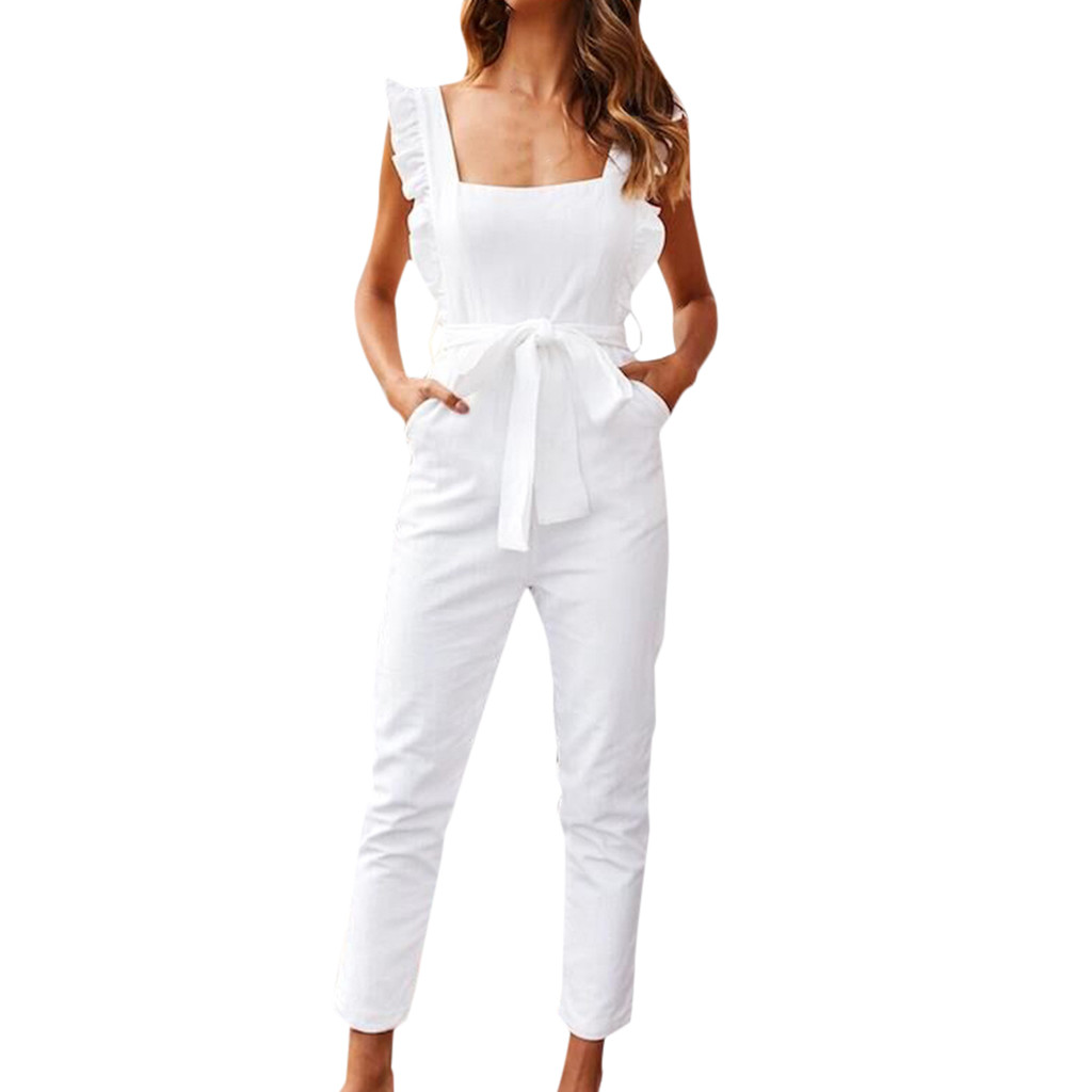 Women Linen Shirred Frill Sleeves Pockets Jumpsuit Ladies Belted Summer Casual Women Solid Strap Pockets Jumpsuits