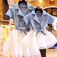 Mother Daughter Dresses Fashion Short Sleeved Family Look Matching Clothes Cotton Mom And Daughter Dress Family