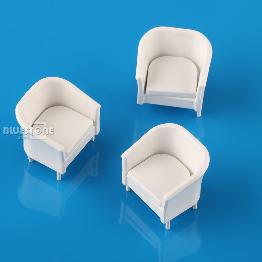 8pcs White Chairs Model Simple style 1 25 G Dollhouse Miniature Furniture