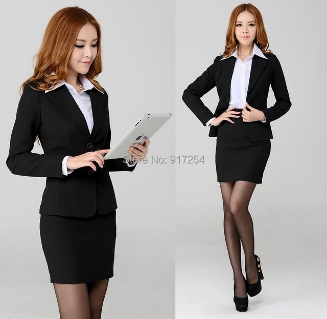 Novo 2015 outono inverno moda mulheres profissionais formais fino Blazer ternos de carreira com MIni saia uniformes de trabalho conjunto desgaste