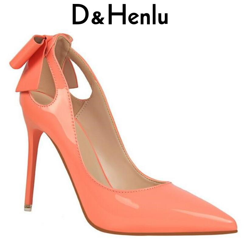 {D&Henlu} Brand Women's Shoes Sweet Big Bow High Heels Women Pumps Stiletto Thin Heel Pointed Toe Hollow High-heeled Shoes 10cm lakeshi new fashion pumps thin sexy high heeled shoes woman pointed suede hollow out bowknot sweet elegant women shoes