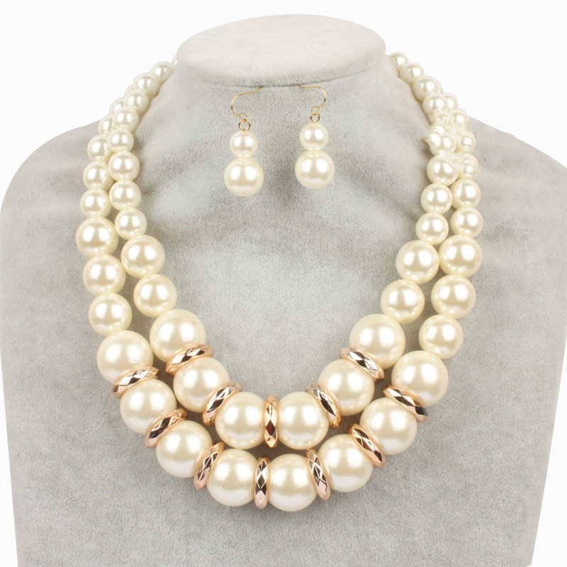 European Fashion Big Large Pearl Jewelry Sets for Women Alloy Beaded Multilayer Choker Necklace Gold Dangle Earrings Duftgold