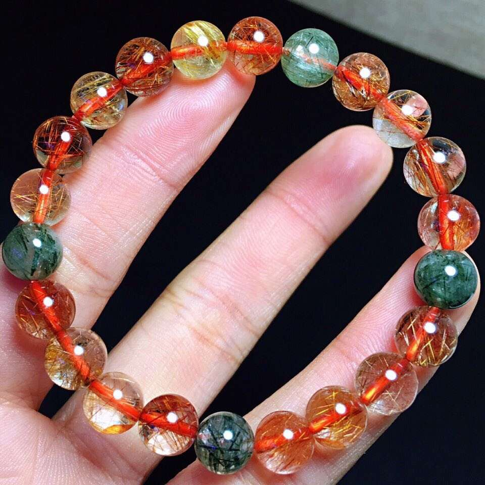 8 5mm Genuine Natural Copper Rutilated Quartz Crystal Bracelet Round Beads Gemstone For Woman Lady Gift