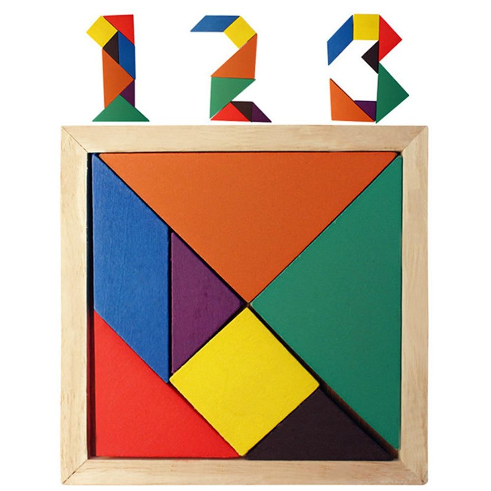Wooden Tangram 7 Piece Jigsaw Puzzle Geometric colorat pătrat IQ Joc - Jocuri și puzzle-uri