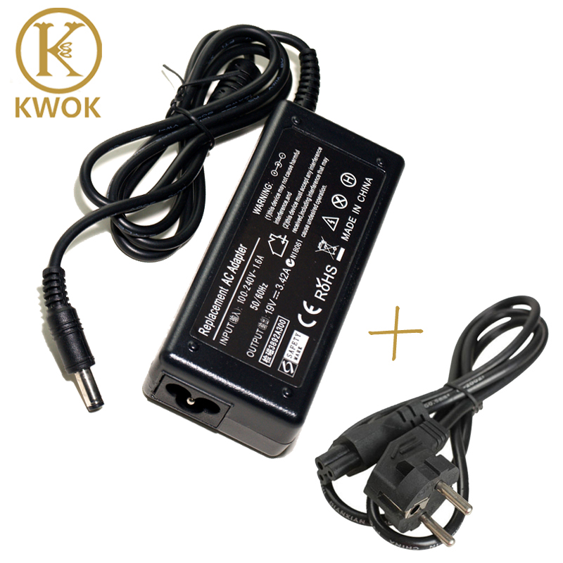 EU-nätkabel + 19V 3.42A AC-bärbar adapter för asus laddare Notebook-laddare Carregador Portatil Laptop Power Supply