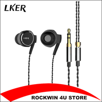 2017 New Lker I8 Metal In Ear Headphones Dual Dynamic Heavy Bass Earphones Dynamic Hifi Music