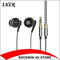 2017 New Lker I8 Metal In Ear Headphones Dual Dynamic Heavy Bass Earphones Dynamic Hifi Music