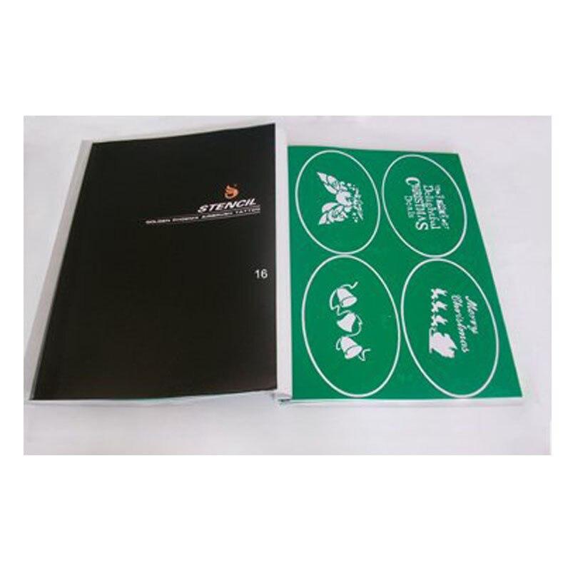 New Temporary Airbrush Tattoo Stencil Book For Christmas Template 16 2PH SB016 Glitter Stencils Kit Tattoo Body Art Supplies
