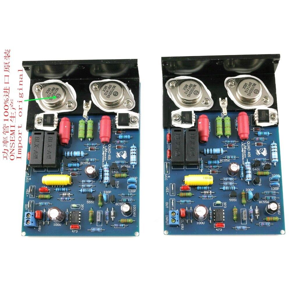 Une paire QUAD405 CLONE HiFi amplificateur de puissance stéréo 2.0 canaux avec angle en aluminium MJ15024
