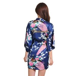 Image 2 - VLENATLNO Robe en Satin, peignoir en rayonne, pour femmes, vêtements de nuit Kimono, pour demoiselle dhonneur, Floral, grande taille