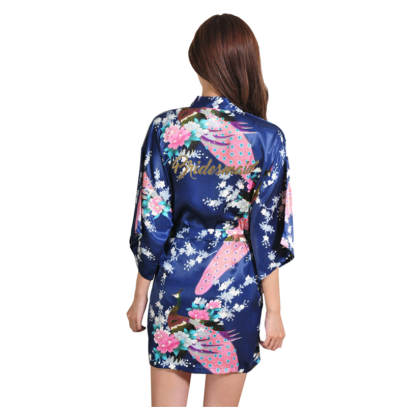 Image 2 - VLENATLNO Wedding Bride Bridesmaid Floral Robe Satin Rayon Bathrobe Nightgown For Women Kimono Sleepwear Flower Plus Size-in Robes from Underwear & Sleepwears on AliExpress