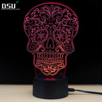 Creative Skull 3D Optical Illusion Desk LED Lamp Night Light Touch 7 Color Changing Nightlight Halloween